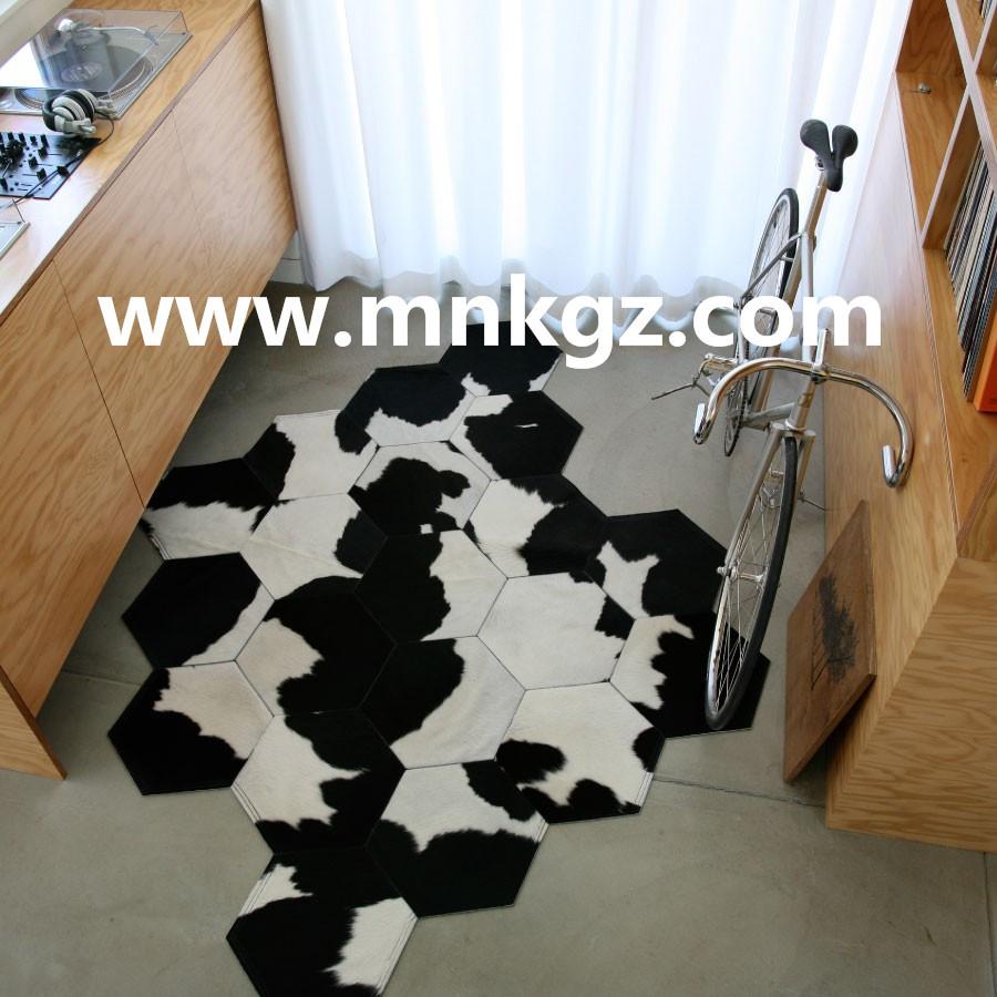纯天然奶牛牛皮拼皮家用地毯