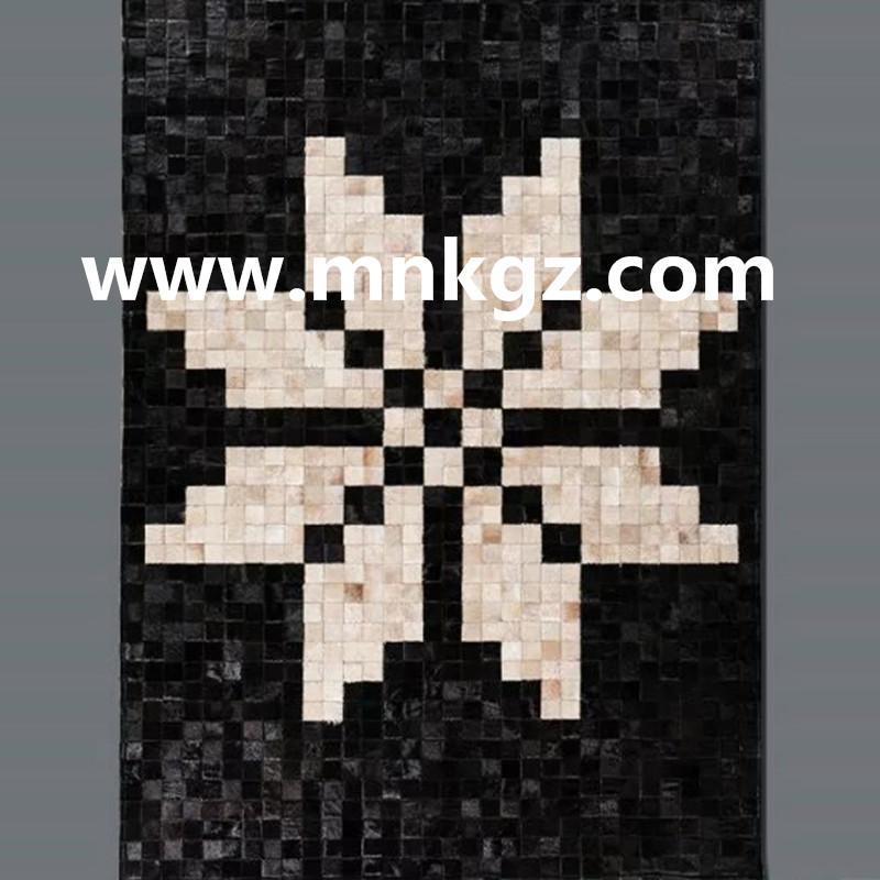 天然牛皮拼接地毯定制
