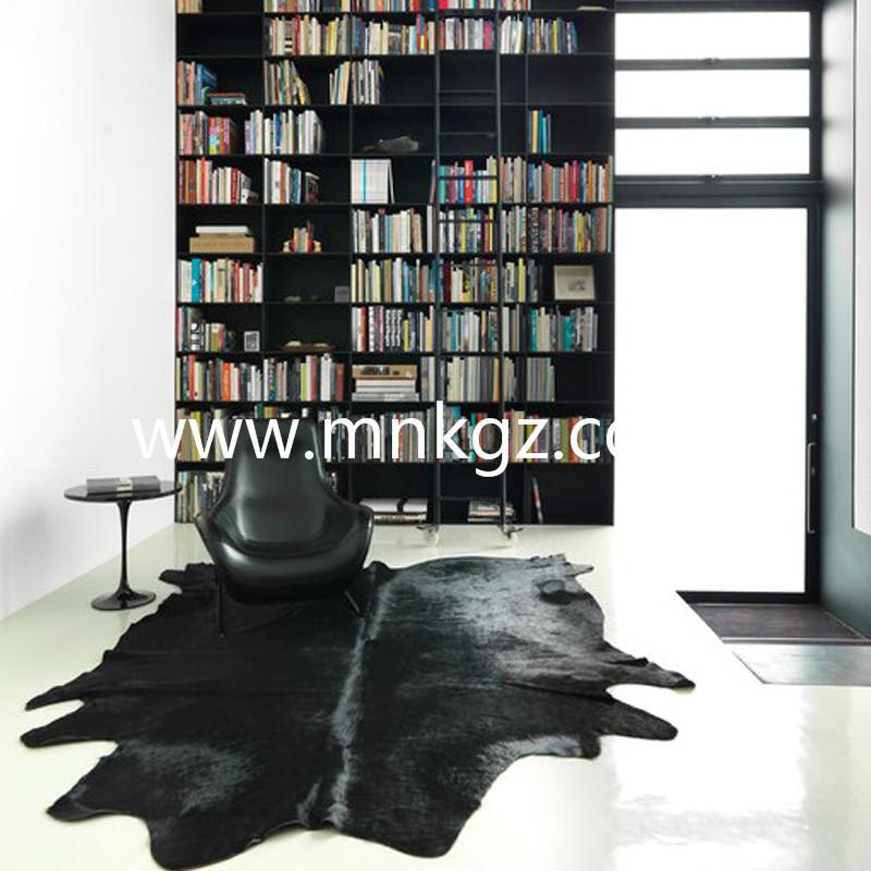 整张纯黑牛皮家用地毯
