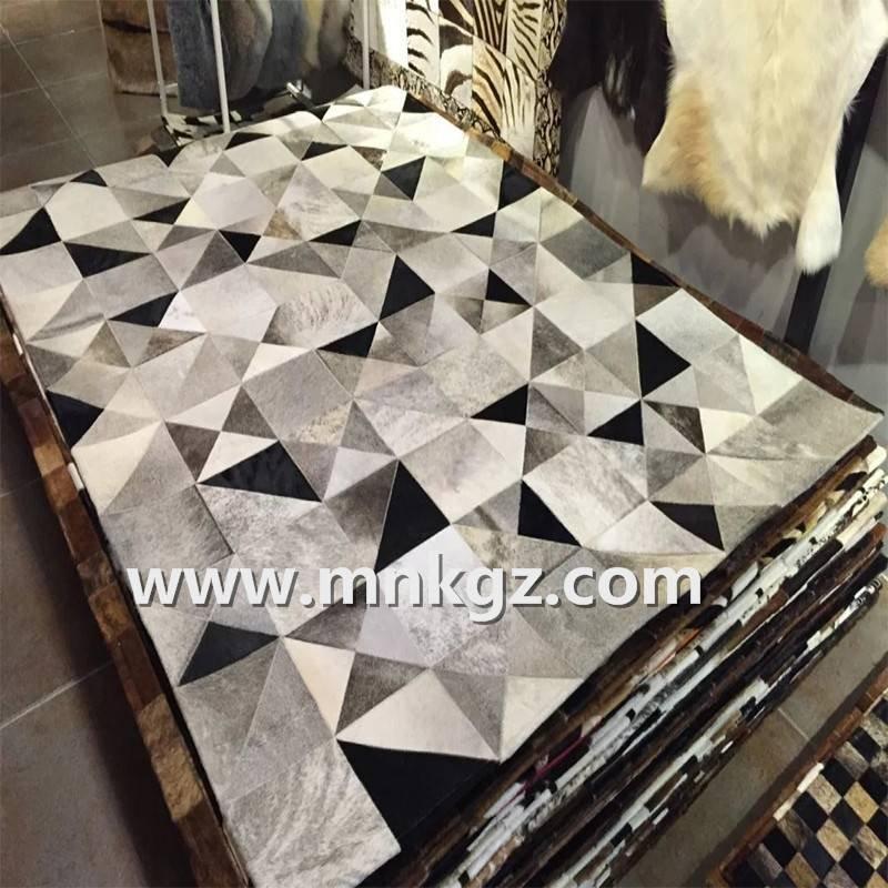 优雅家用天然奶牛皮拼皮地毯