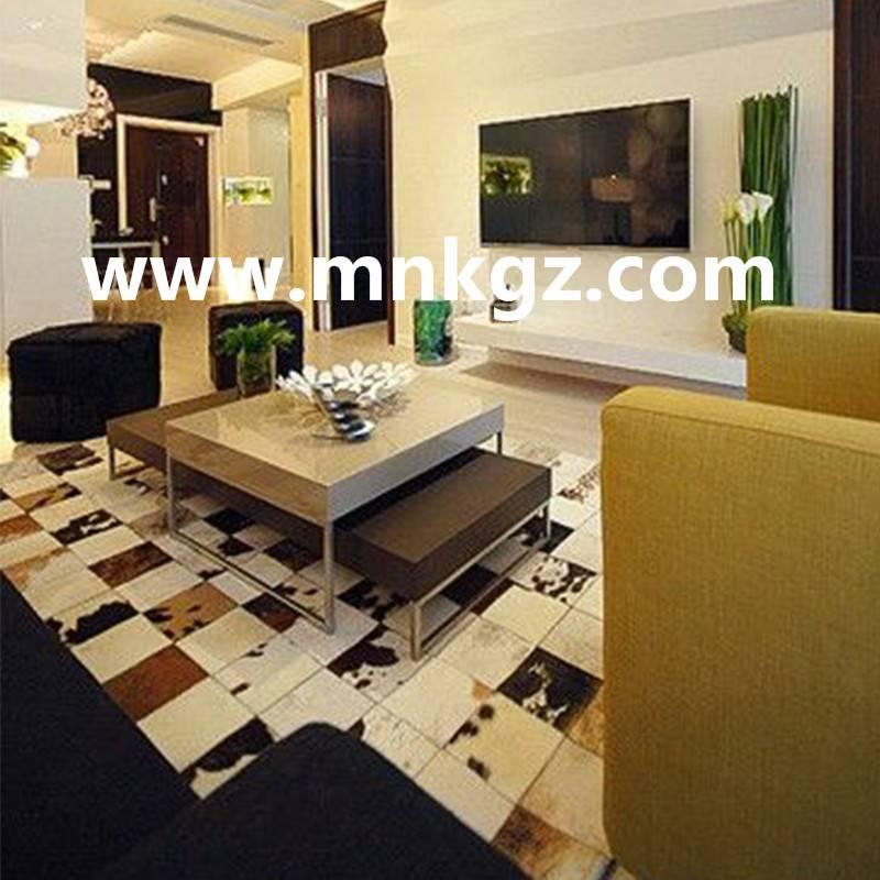 欧式纯天然奶牛拼皮卧室,客厅地毯