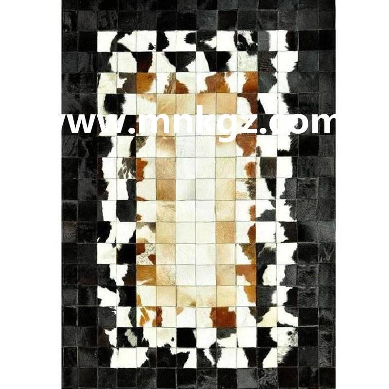 欧式纯天然牛皮拼皮家用地毯