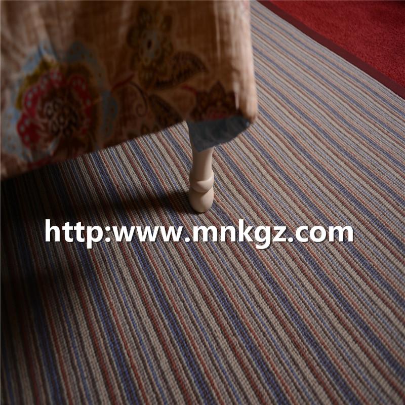 条纹簇绒地毯100%羊毛阻燃客房毯