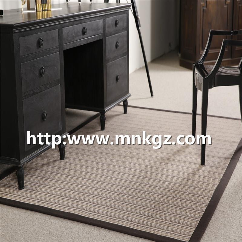 100%羊毛阻燃毯条纹图案客厅毯