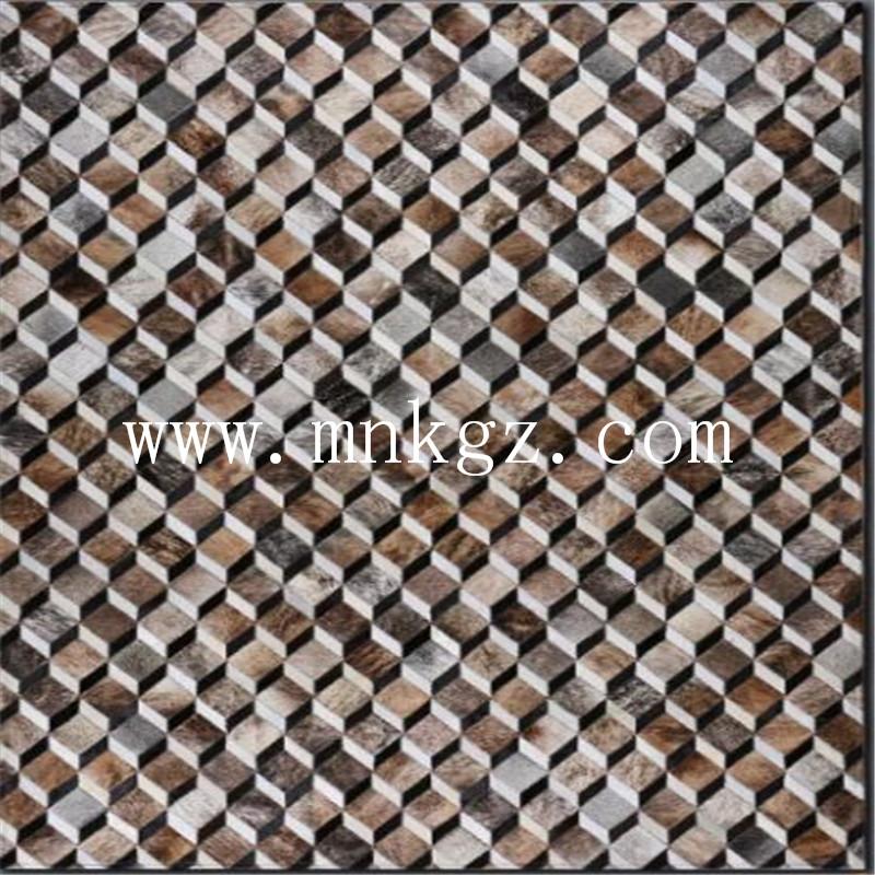 异形拼接牛皮客厅地毯