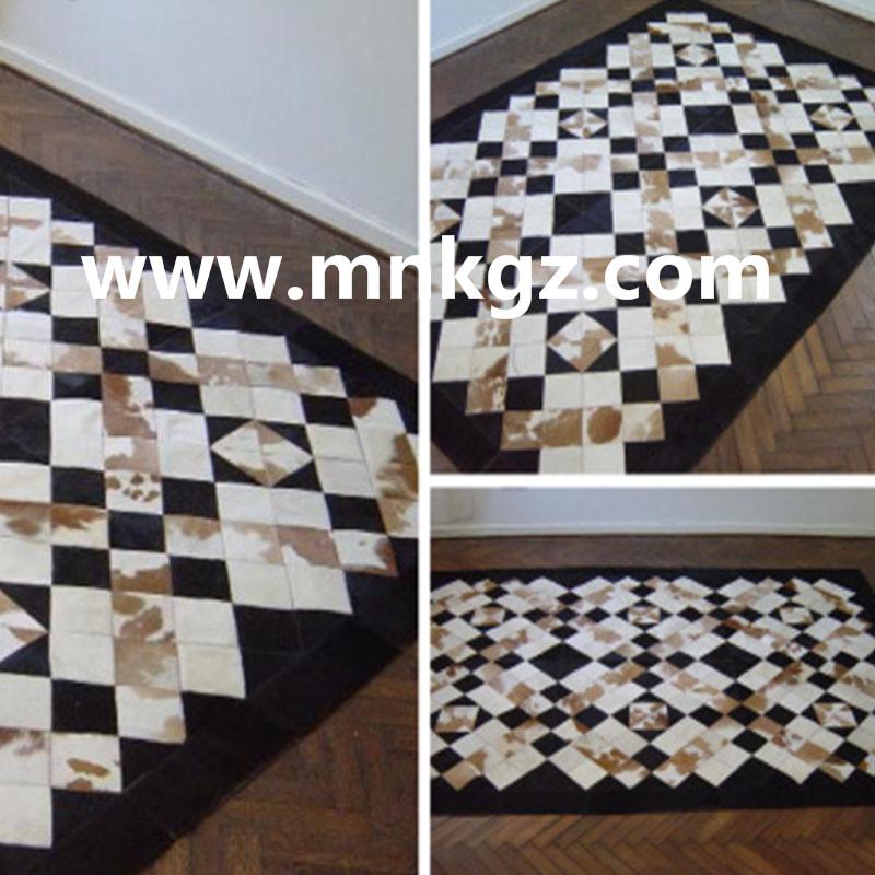 天然牛皮地毯花式拼接地毯