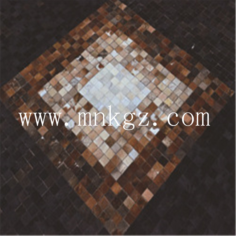 正方形拼接牛皮家用地毯