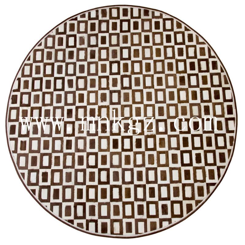 进口圆形定制牛皮家用地毯