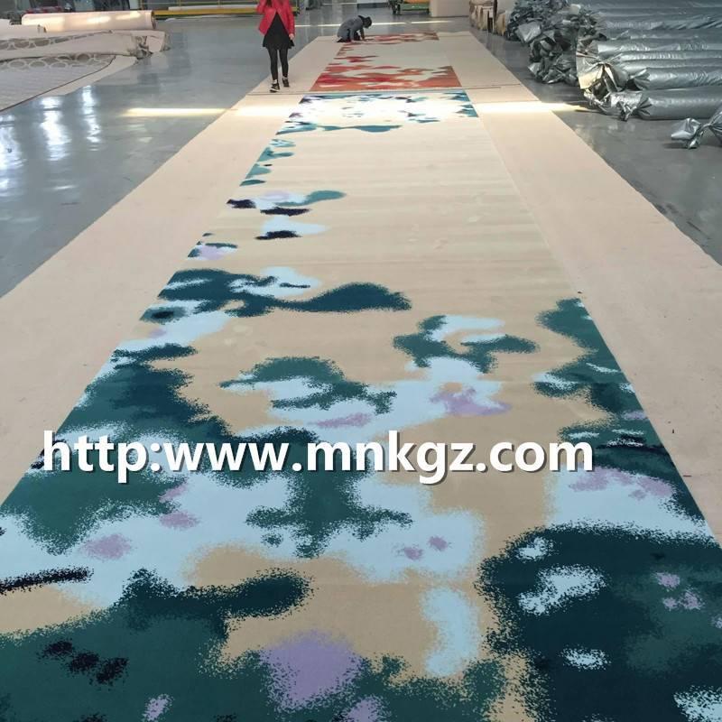 清新风格定制图案地毯满铺走道阿克明地毯