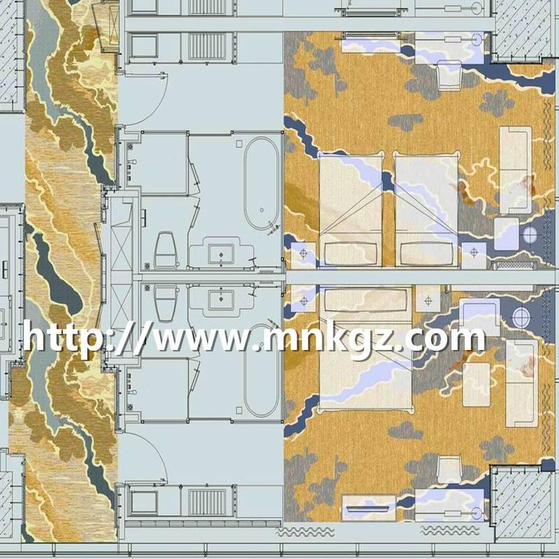 北欧风格地毯阿克明酒店主卧地毯